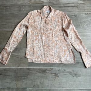 Equipment silk button up animal print blouse